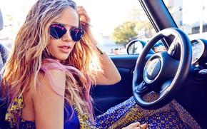 Picture car, girl, dress, photo, blonde, actress, sunglasses, portrait, wavy hair, bare shoulders, Halston Sage