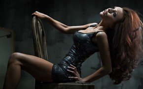 Picture chest, model, dress, chair