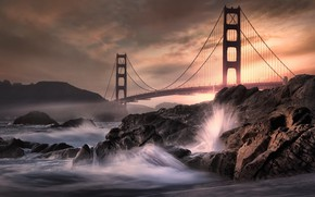 Picture night, bridge, wave