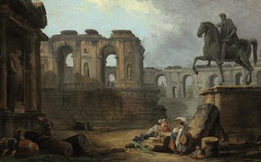 Picture picture, painting, painting, Hubert Robert, 1763, Юбер Робер, with washerwomen by the Statue of Marcus …