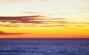 Picture sea, sunset, dusk