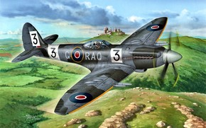 Picture fighter, artwork, RAF, piston, Supermarine, UK, Spitfire F.Mk.22