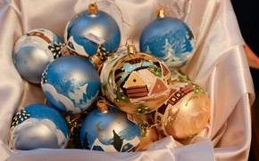 Picture winter, balls, holiday, box, balls, Christmas, drawings, New year, fabric, a lot, painting, bokeh, Christmas …