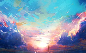 Picture road, the sky, girl, clouds, sunset