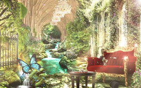 Picture water, flowers, sofa, butterfly, chess, dagger, ruins