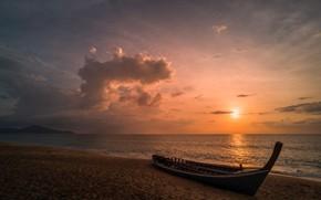 Picture sea, beach, sunset, nature, shore
