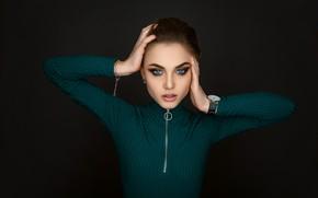 Picture eyes, girl, face, pose, watch, makeup, beautiful, jacket