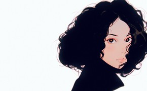 Picture look, face, brunette, collar, curls, portrait of a girl, curly hair, Ilya Kuvshinov