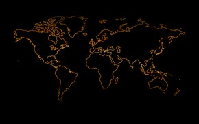 Picture orange, the world, black background, world map