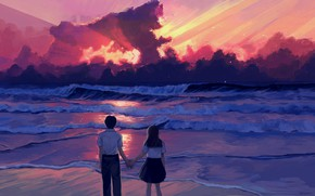 Picture sea, the sky, love, sunset, students