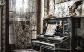 Picture music, window, piano