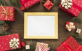 Picture decoration, frame, New Year, Christmas, gifts, Christmas, wood, New Year, gift, decoration, frame, Merry