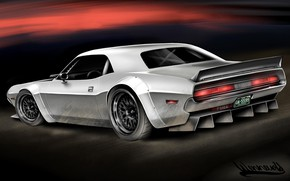 Picture Auto, Figure, Retro, Machine, Dodge, Challenger, Art, Art, Dodge Challenger, by Andreas Hoas Wennevold, Andreas …