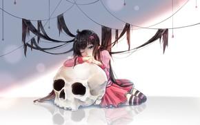 Picture girl, hair, skull, stars, thread, AOTU Shijie