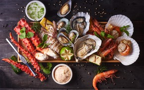 Picture fish, lime, shrimp, seafood, cuts, oysters