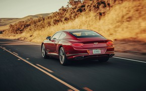 Picture red, movement, coupe, Bentley, back, 2019, Continental GT V8