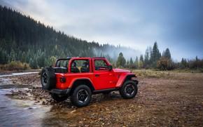 Picture red, stones, shore, 2018, Jeep, spare wheel, Wrangler Rubicon