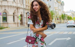 Picture road, girl, the city, pose, smile, mood, hands, dress, handbag, curls, Cyril Zakirov