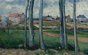 Picture landscape, house, picture, Victor Vignon, Victor Vignon, Village behind the Trees