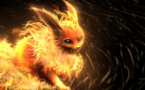 Picture anime, art, animal, pokemon, pokemon, flareon