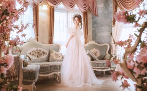 Picture girl, flowers, style, room, sofa, interior, dress, Asian
