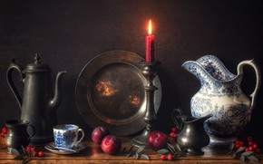 Picture style, background, candle, briar, mug, pitcher, still life, plum, candle holder, dish, coffee pot