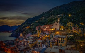 Picture building, home, the evening, Italy, Church, Italy, The Ligurian sea, Vernazza, Vernazza, Cinque Terre, Cinque …