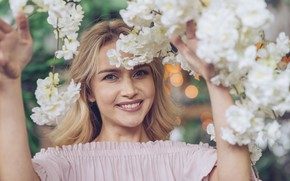 Picture girl, flowers, branches, nature, smile, white