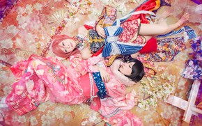 Picture look, pose, style, background, girls, two, pair, costume, outfit, kimono, Asian girls, lie, Asian