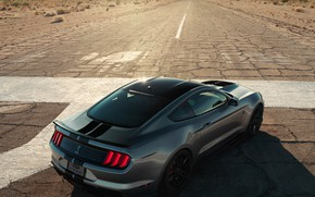 Picture road, machine, the sun, light, strips, style, grey, hills, Ford, sports, drives, Ford Mustang Shelby …