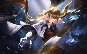 Picture look, girl, weapons, sword, fantasy, art, blue eyes
