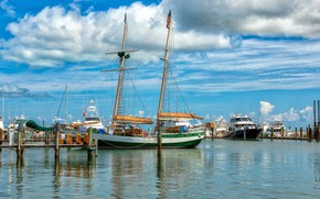 Picture sea, the sky, the sun, clouds, coast, yachts, FL, USA, piers, Key West