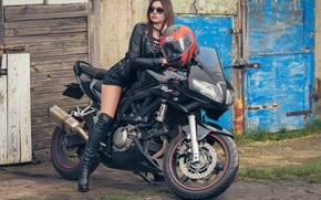 Picture girl, background, motorcycle
