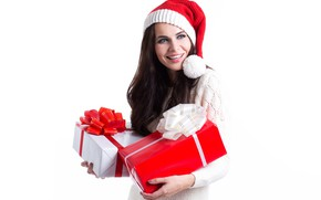 Picture brunette, gifts, white background, New year, cap, box
