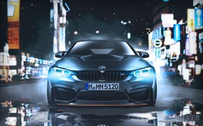 Picture Auto, Night, BMW, Machine, Lights, Car, Car, Art, The front, BMW M4, Vehicles, Transport, Transport …
