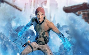 Picture rendering, gun, chain, male, sony, Second Son, delsin rowe, inFAMOUS, troy baker
