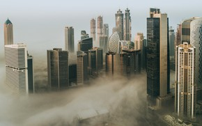 Picture the city, fog, construction, building, morning, Dubai