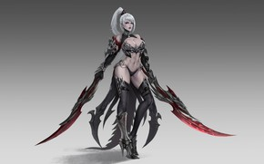 Picture Girl, Fantasy, Art, Style, Background, Illustration, Weapons, Weapon, Blades, Figure, Character, Daggers, LIU Mingxing, Melee …