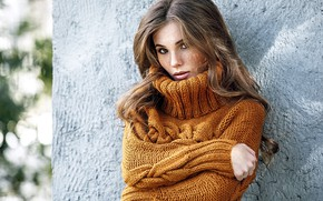 Picture look, wall, Girl, hairstyle, sweater, Alexey Starski, Anya Fedotova