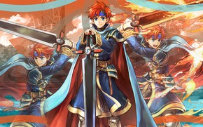 Picture sword, guy, Heroes, cloak, Fire Emblem