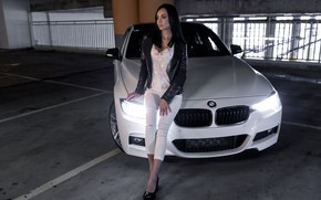 Picture look, Girls, BMW, beautiful girl, Valeria, white car, posing on the car