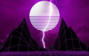 Picture Mountains, Music, Lightning, Space, Star, Style, Background, Star, Space, 80s, Lightning, Style, Neon, Mountains, Illustration, …