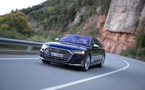 Picture road, blue, rocks, Audi, vegetation, turn, sedan, Audi A8, Audi S8, 2020, 2019, V8 Biturbo