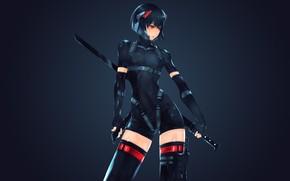 Picture girl, sword, helmet