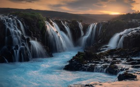 Picture sunset, mountains, rocks, hills, shore, waterfall, waterfalls, Iceland, pond