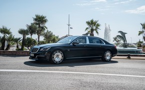 Picture road, car, machine, the sky, palm trees, Mercedes-Benz, Mercedes, fountain, Mercedes, Brabus, Maybach, side, tuning, …