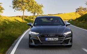 Picture road, Audi, before, Audi A7, 2019, dark gray, S7 Sportback