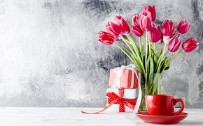 Picture gift, bouquet, tulips, vase