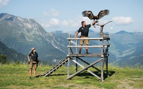 Picture woman, beautiful, man, eagle, Falconry
