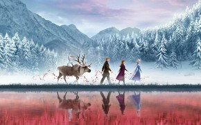 Picture Frozen, Red, Fantasy, Nature, Blizzard, Beautiful, Anime, Wood, Winter, Anna, Tree, Queen, Snow, Girls, Female, …